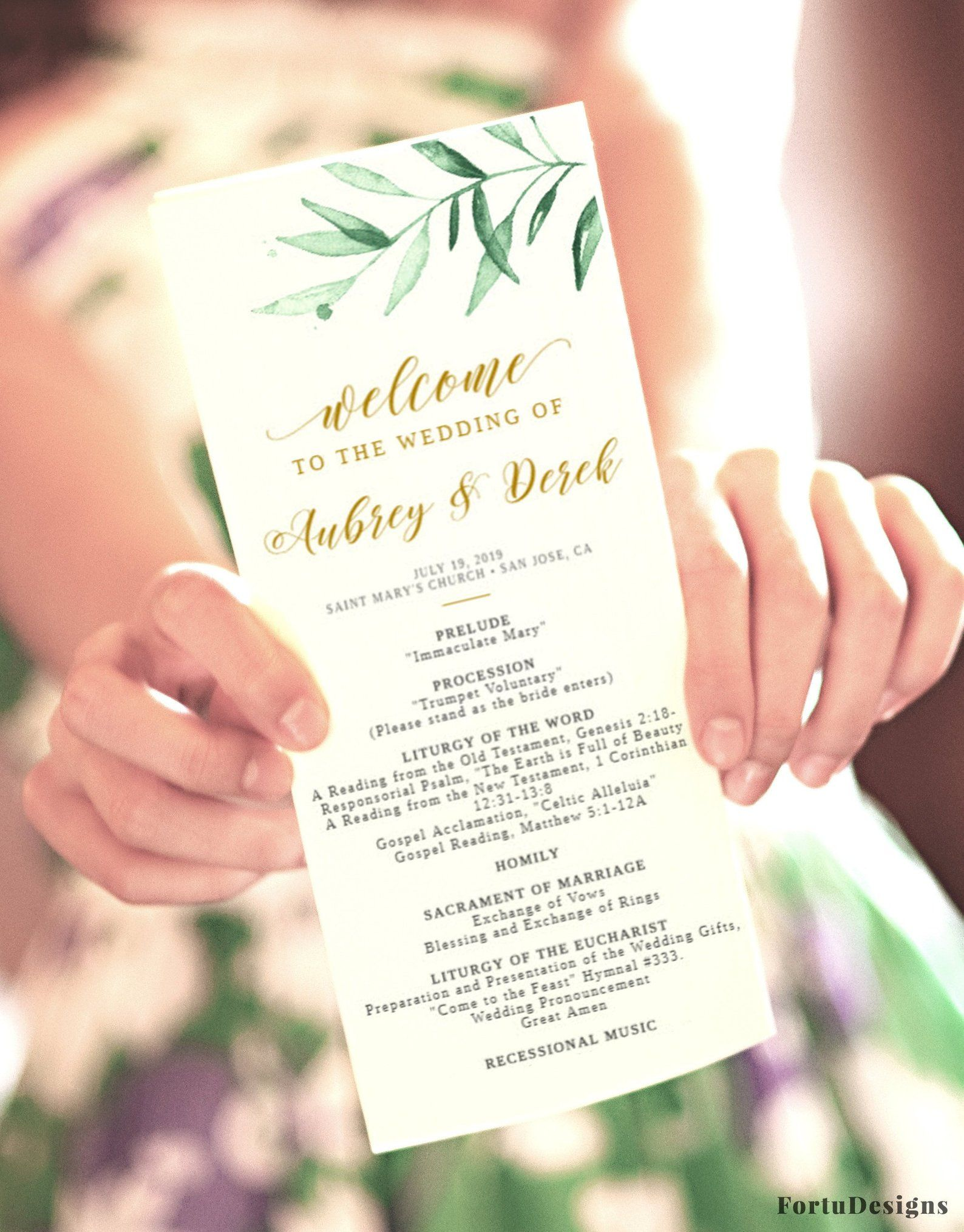 Catholic Wedding Program Template Wedding Ceremony