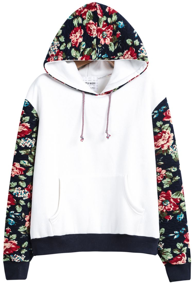 White Hooded Contrast Floral Loose Sweatshirt 21.33 | Fashion ...