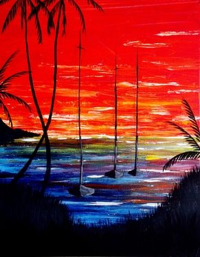 """Saatchi Online Artist Kyle Brock; Painting, """"Sailboats and Sunsets"""" #art #painting"""