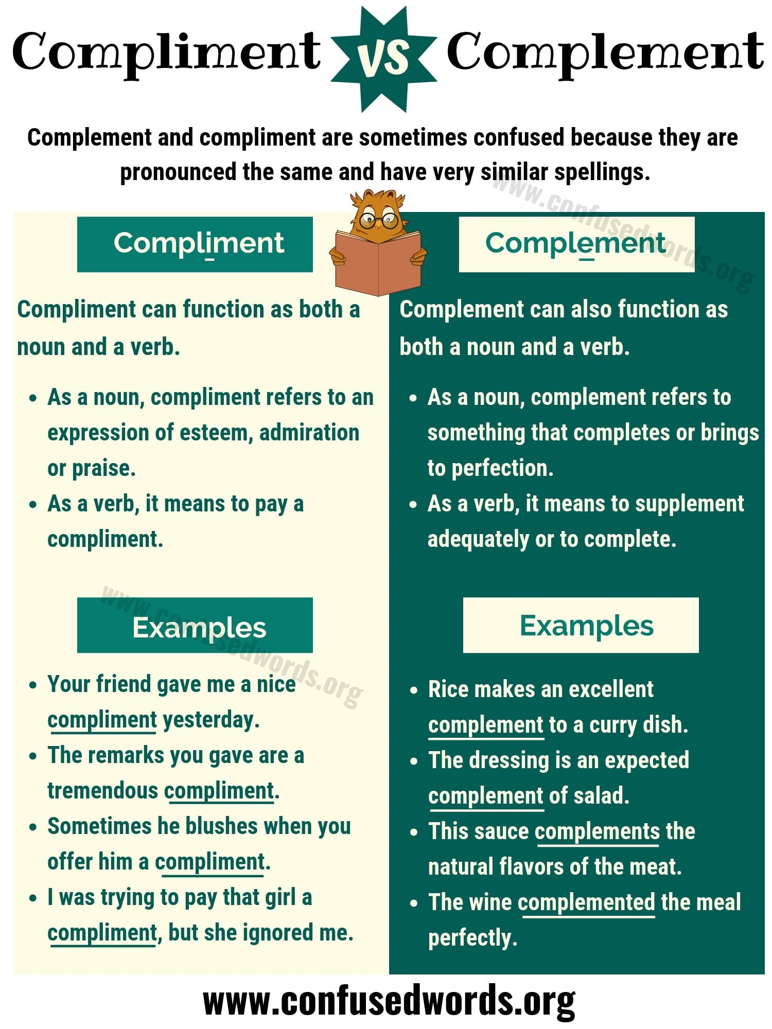 Compliment Vs Complement Difference Between Complement Vs Compliment Confused Words Learn English English Grammar Learn English Vocabulary [ 2000 x 1500 Pixel ]