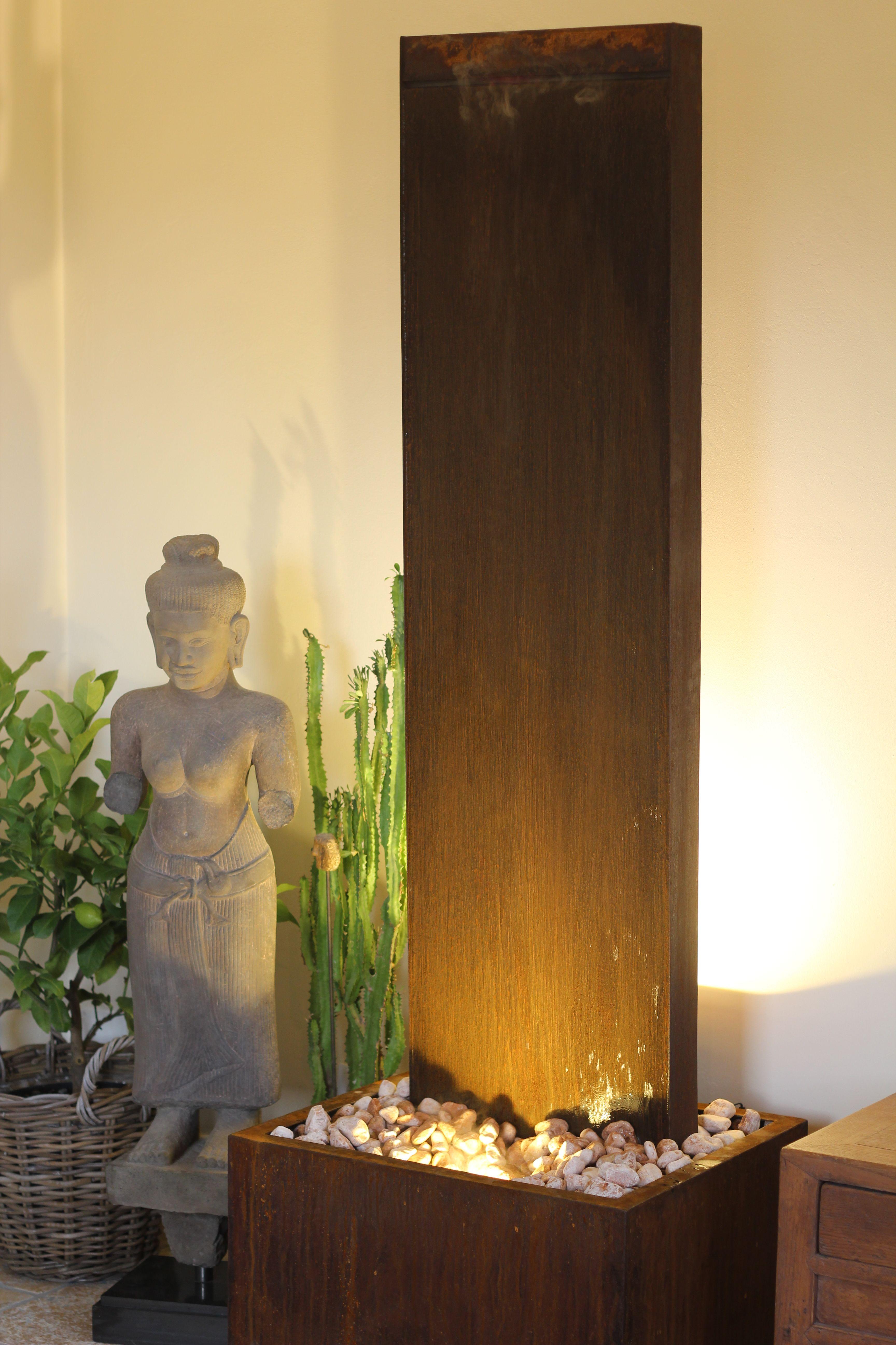 Wasserwand Cordon 180 Cortenstahl Zimmerbrunnen Buddha