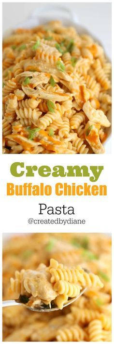 creamy-buffalo-chicken-pasta-recipe-www.createdbydiane.com #chicken #pasta #sauce #meal #easy #cheesy #buffalochickenpastasalad