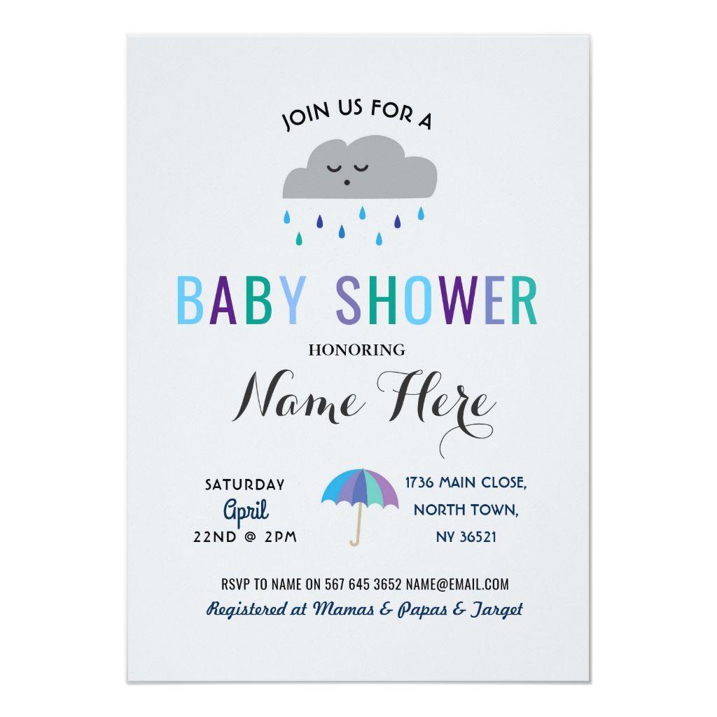 Baby Shower Cloud Sprinkle Rain Cute Umbrella Rain Invitation | Zazzle.com #cuteumbrellas