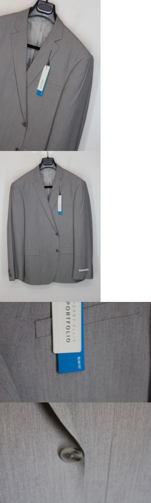 Other Golf Clothing 158939: New Perry Ellis Slim Fit 2 Pc Suit 44L 38W Light Grey Flat Pant A#664 -> BUY IT NOW ONLY: $65.99 on eBay!