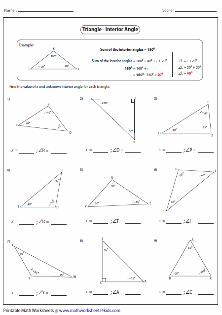 Missing Interior Angles Geometry Triangles Triangle
