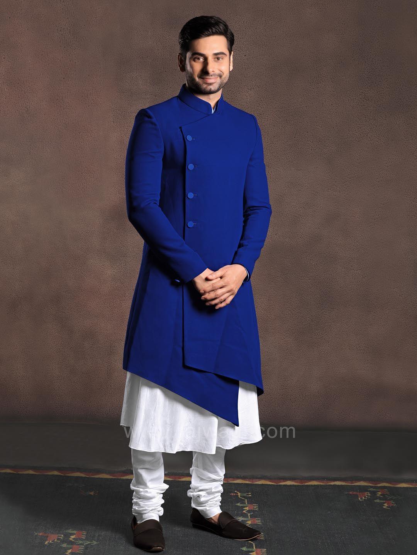 Stylish blue color imported fabric indo western manus pinterest