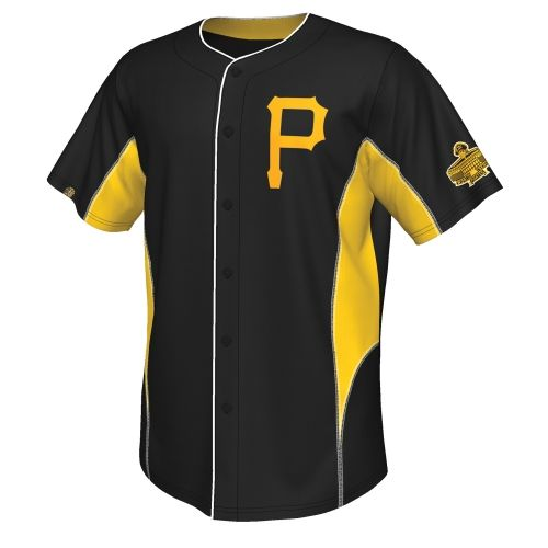 479935811cd MLB Majestic Pittsburgh Pirates Cooperstown Collection Team Leader Button-Up  Jersey - Black