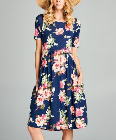 0b56ccb73502 Another great find on #zulily! Navy & Pink Floral Empire-Waist Midi Dress # zulilyfinds