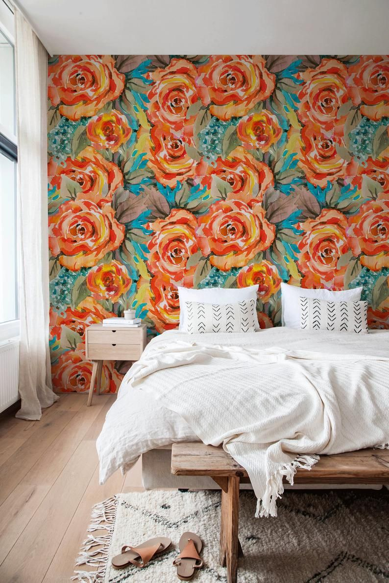 Colorful Floral Wallpaper Peel And Stick Wallpaper Removable Etsy Removable Wallpaper Peel And Stick Wallpaper Wall Wallpaper