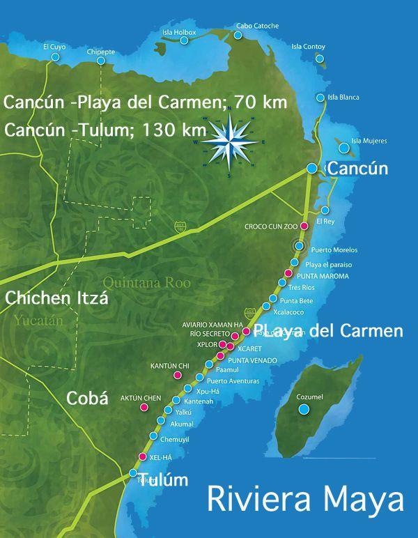 Resultado de imagen para distancia entre hoteles riviera maya