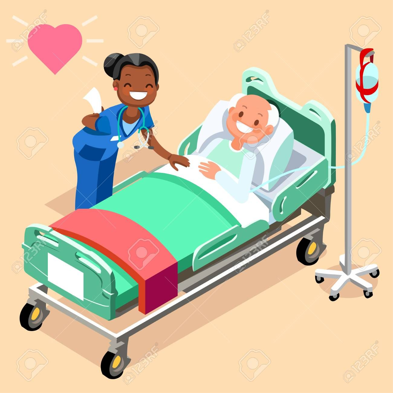 Black nurse or family doctor at male patient bed 3D flat