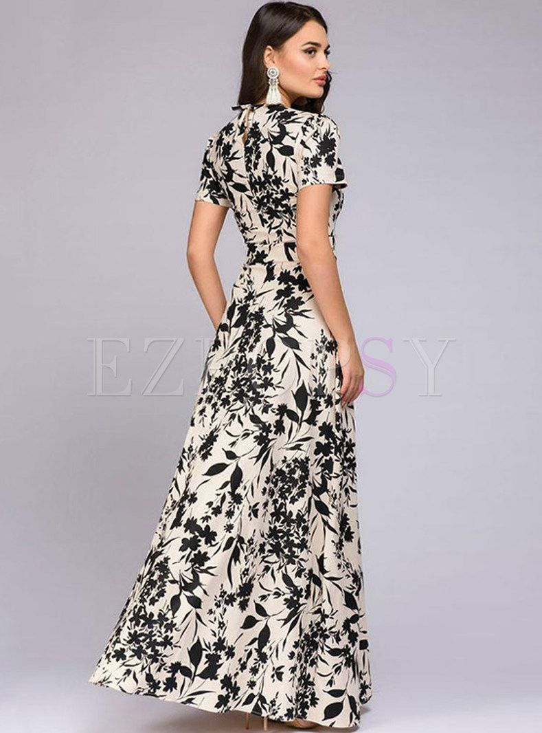 Elegant O Neck Short Sleeve Print Maxi Dress Printed Casual Dresses Maxi Dress Short Sleeve Summer Dresses [ 1066 x 789 Pixel ]