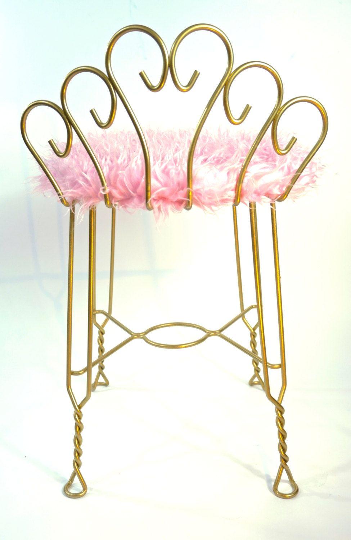 Vintage Hollywood Regency Gold Metal U0026 Pink Faux Fur Vanity Stool ||  Peacock Scrolled Back