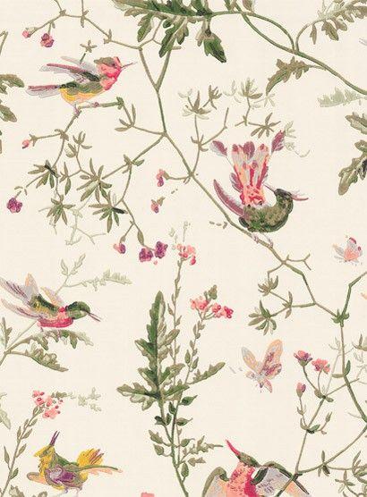 Ganz Klassische Vogelmotivetapete Hummingbirds Von Cole Son In Cremeweis Britisch Englisch Design Schlafzimmer