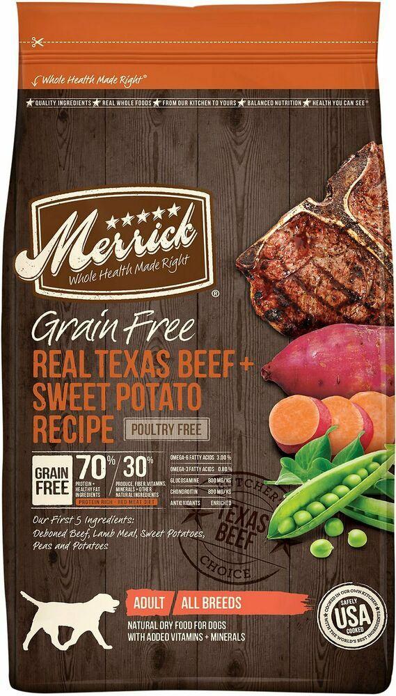 merrick grainfree real texas beef  sweet potato recipe dry dog food merrick with images