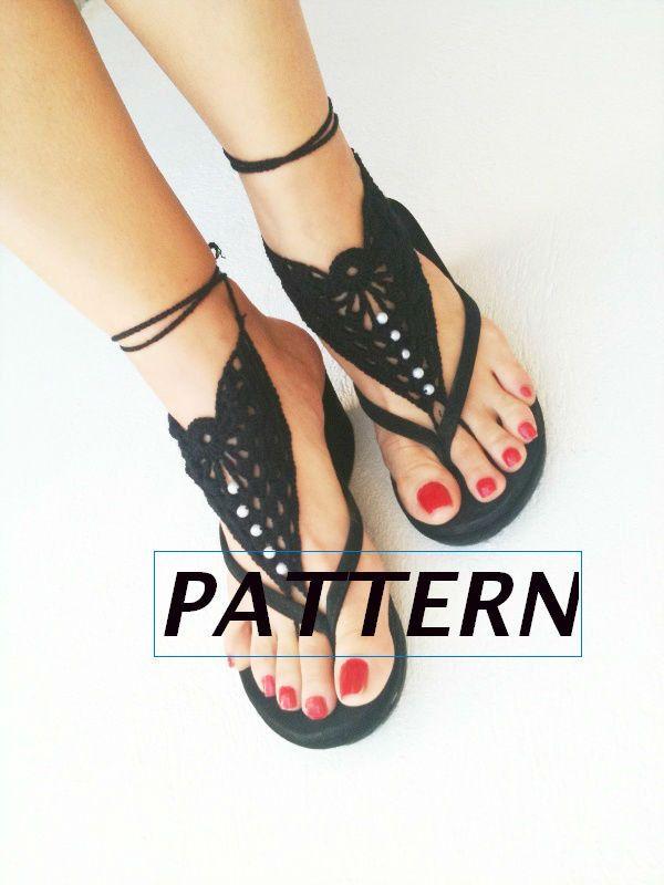 Pdf Crochet Pattern Diy Tutorial Barefoot Sandals Nude Shoes