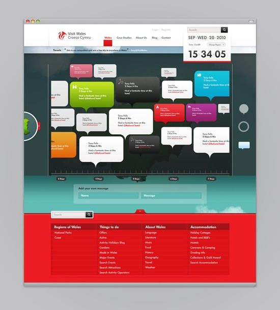 Colorful Social Media Webtemplate Visit Wales Web Design Interactive Design