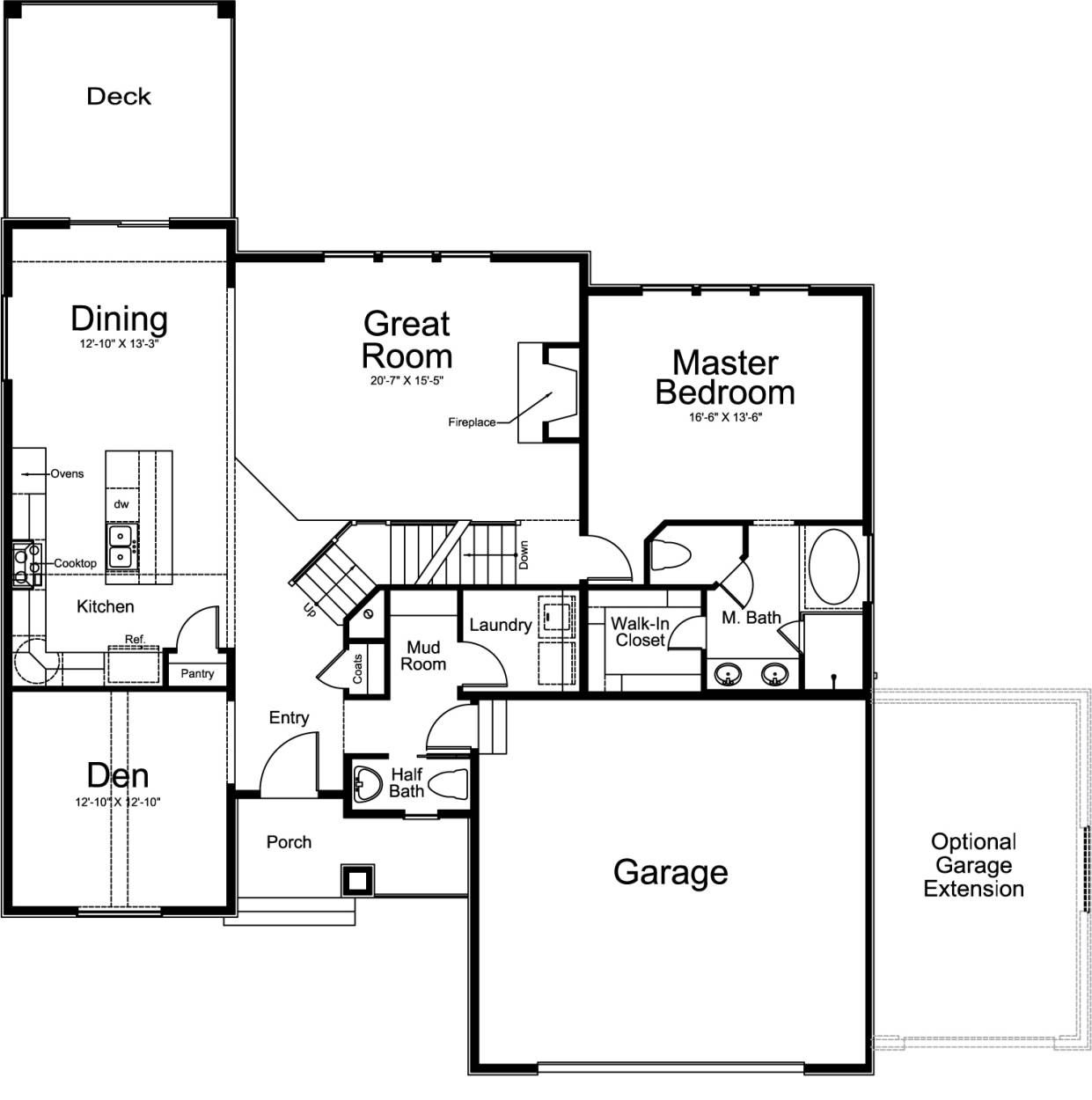 Rockwell Ivory Homes Floor Plan - Main Level