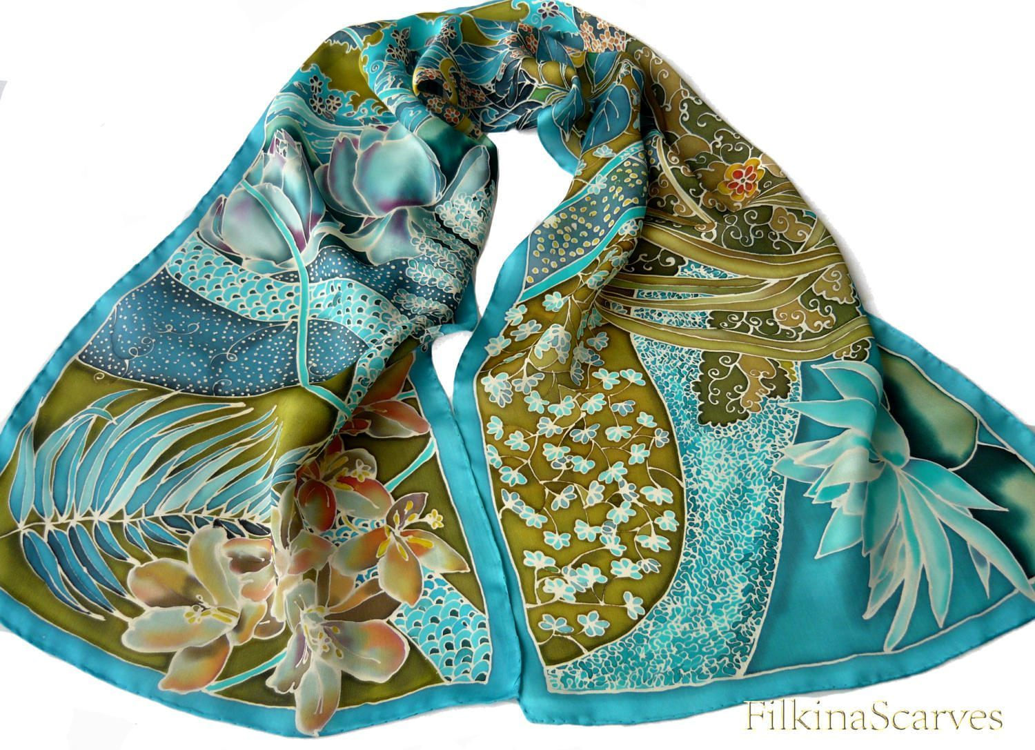 Hand Painted Silk Scarf Floral Scarf Handpainted Scarf ...