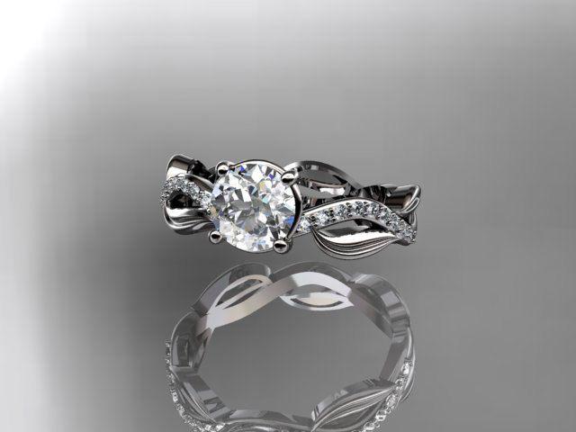 platinum diamond leaf and vine wedding ring,engagement ring ADLR100A. $1,640.00, via Etsy.