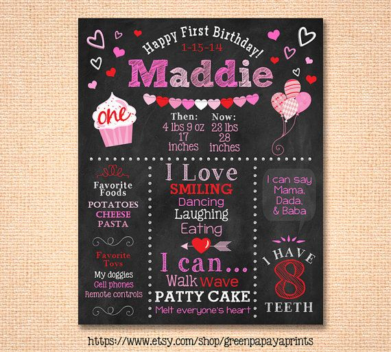 Valentine Birthday Chalkboard Girl S First Birthday Chalkboard