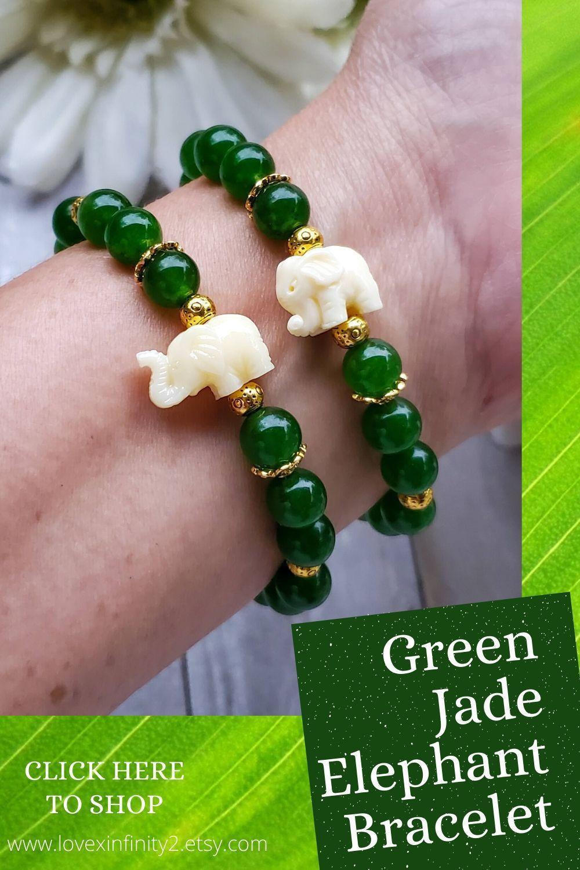Jade Bracelet Meaning : bracelet, meaning, Green, Elephant, Bracelet, Prosperity, Bracelet,, Earthy, Jewelry,, Crystal, Healing, Bracelets