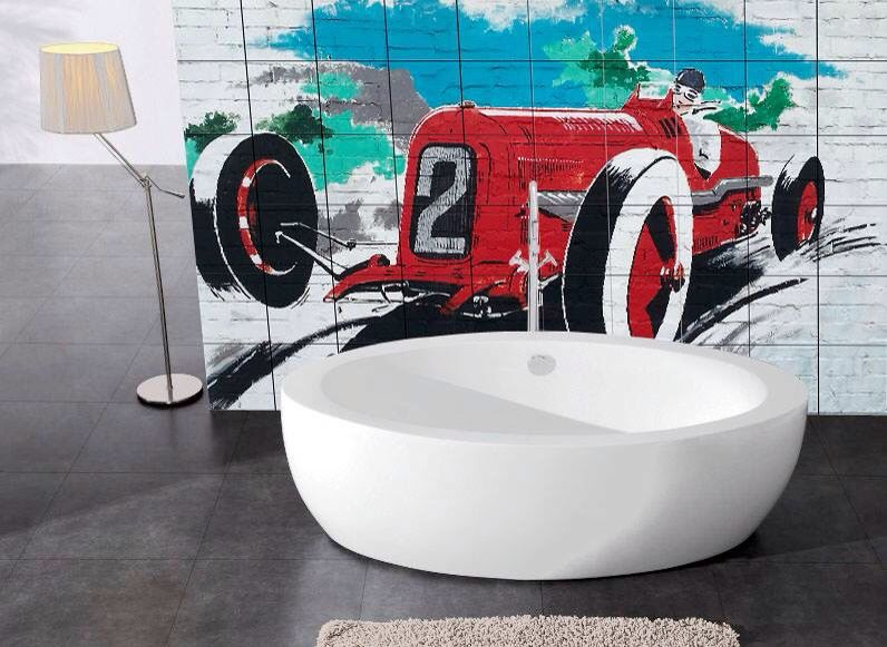 Decorative Tiles Australia Entrancing Streetart Is Creating A Stunning Feature Wall Behind Free Standing Decorating Inspiration