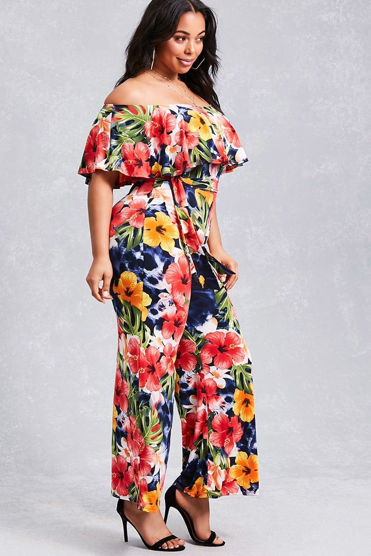 9fc6ce48c2 Forever 21+ - A stretch-knit jumpsuit featuring an allover tropical floral  print
