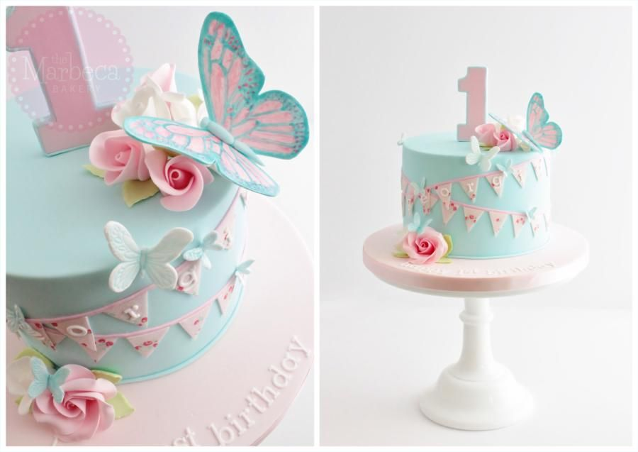 Butterflies flowers and bunting birthday cake for a gorgeous