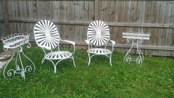 Vintage Oversized Sunburst Francois Carre Chairs Iron Furniture
