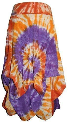 Convertible Ripple Tie Dye Unique Long Knit Cotton Skirt