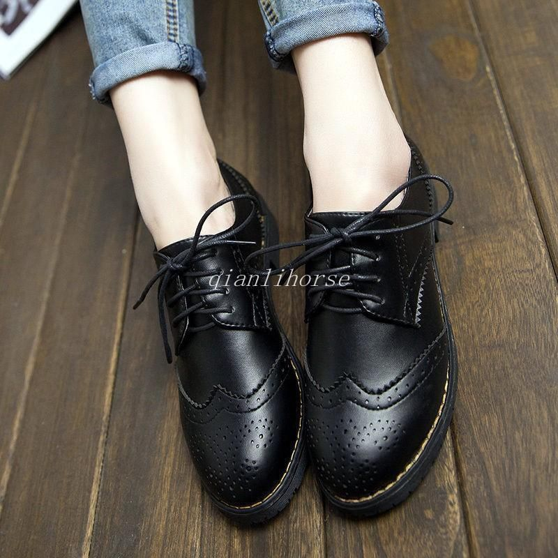 Lace Up Low Heel Wingtip Shoes