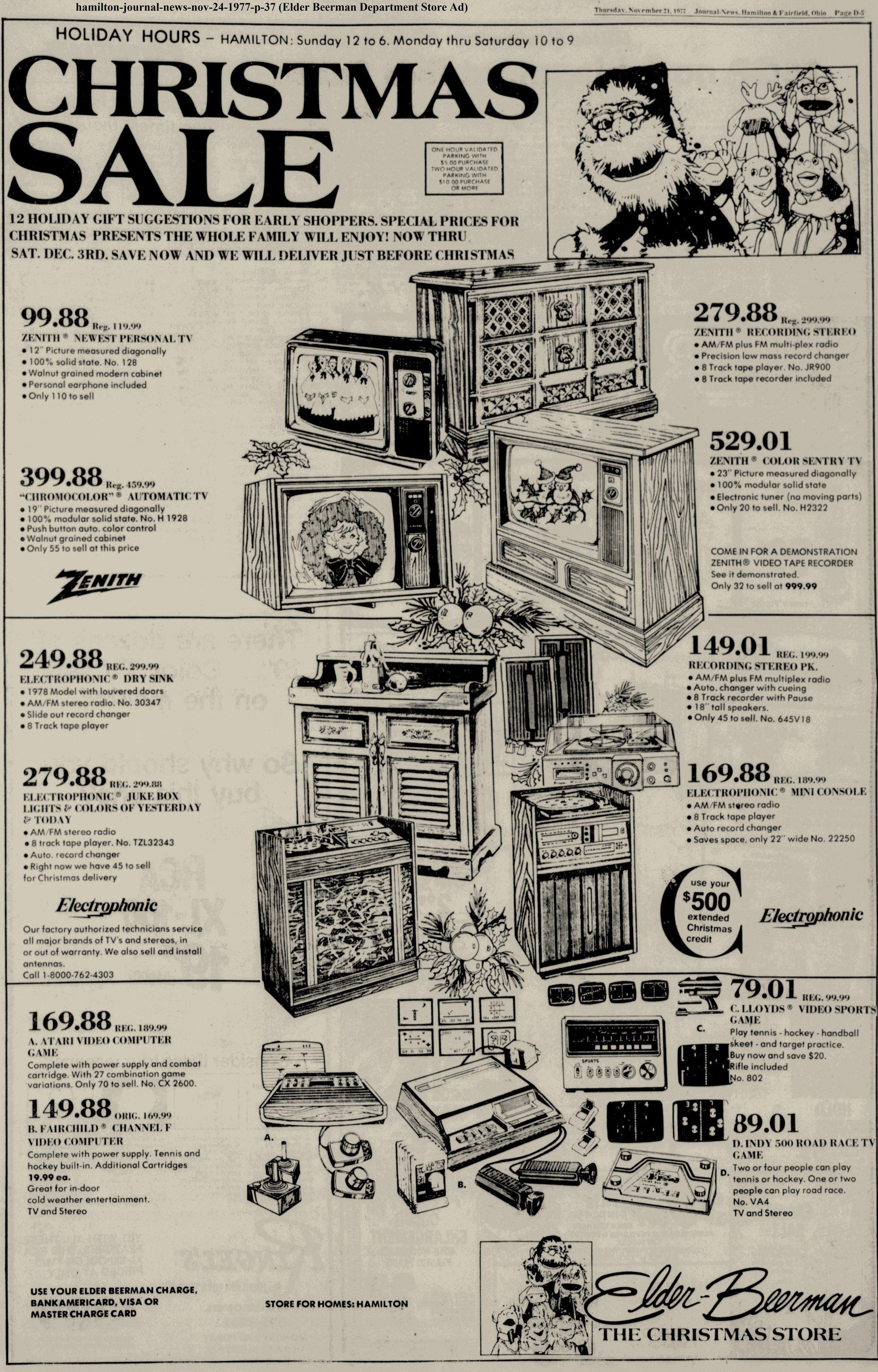 Elder Beerman department store ad in the Hamilton