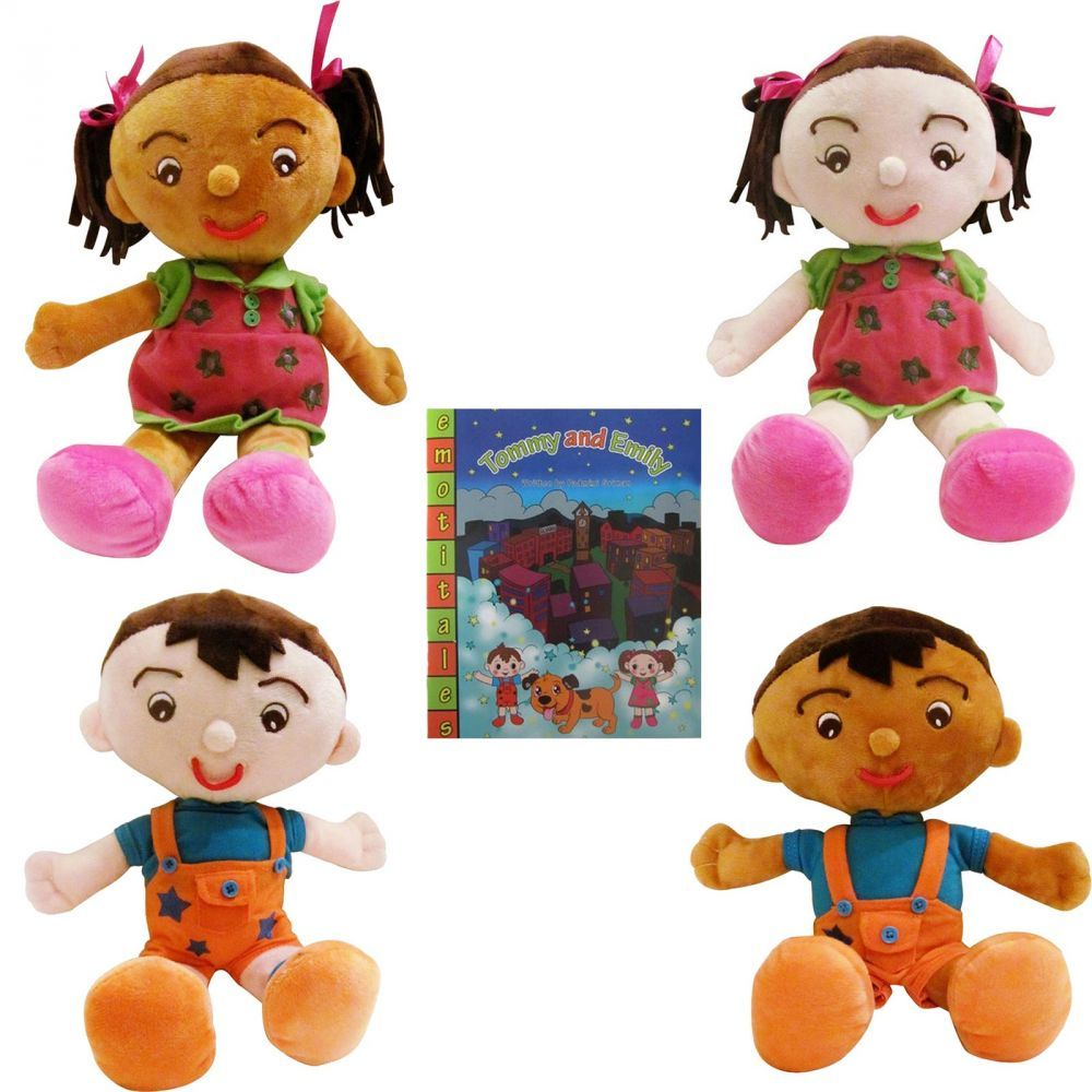 EmotiPlush - The Facial Expression Dolls As opposed to a static plush toy, these expressive plush dolls can show an instant reaction - which helps children understand both the emotions and facial expressions connected to a particular feeling (Happy, Sad, Angry, Confused, Surprised and More). EmotiPlush dolls have eyebrows and mouths that can be moved around to display different emotions, so children can change the doll's features to reflect the emotions they want to express.