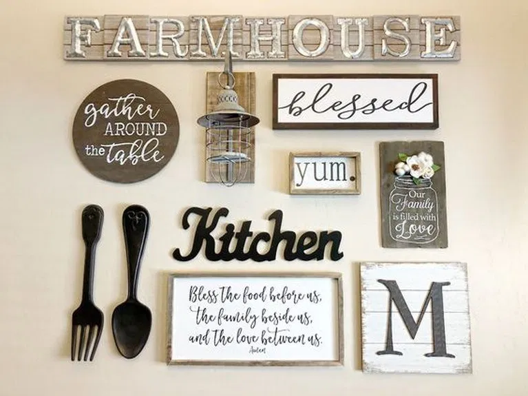 24 Ideas Farmhouse Kitchen Wall Decor Ideas Hasinfo Net In 2020 Kitchen Decor Wall Art Kitchen Gallery Wall Farm Kitchen Decor