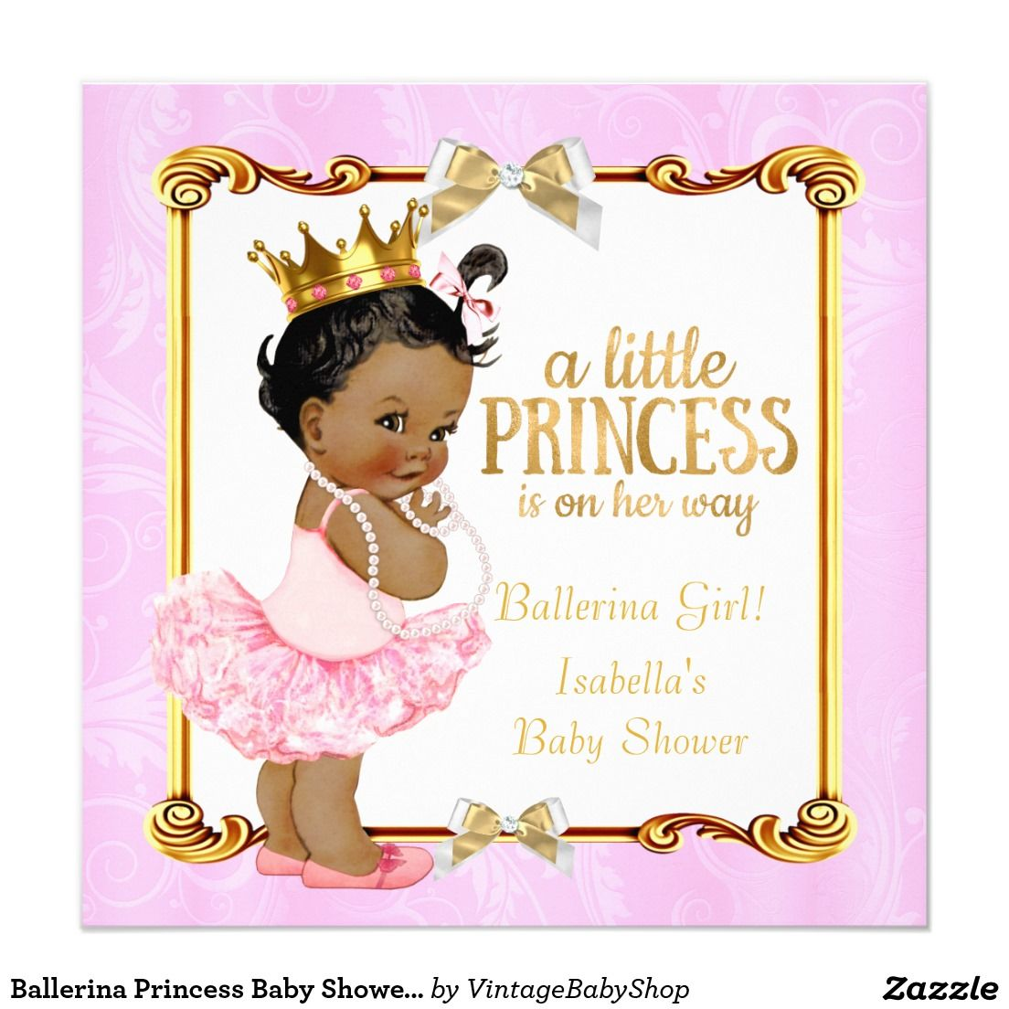 ballerina princess baby shower pink gold ethnic card   pink, Baby shower invitations