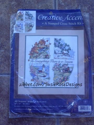 """For Everything There is a Season, Spring, Summer, Fall, Winter, Stamped Cross Stitch Kit by Creative Accents of the 4 Seasons 14""""x 14"""""""