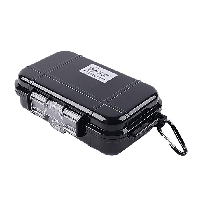 JERKKY Camping EDC Shockproof Waterproof Box Safety Survival Aid Storage Case Container Black #L