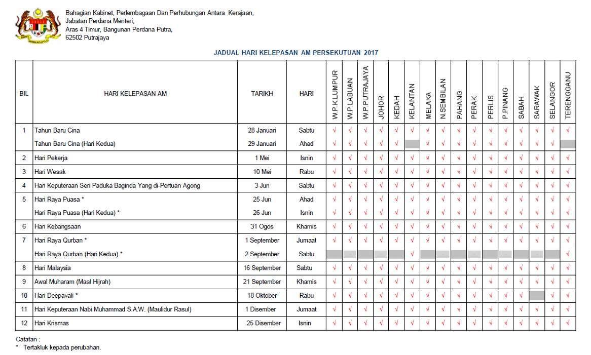 Jadual Hari Kelepasan Am Cuti Umum 2017 Rasmi Coco大马站 Malaysia Sheet Music Periodic Table