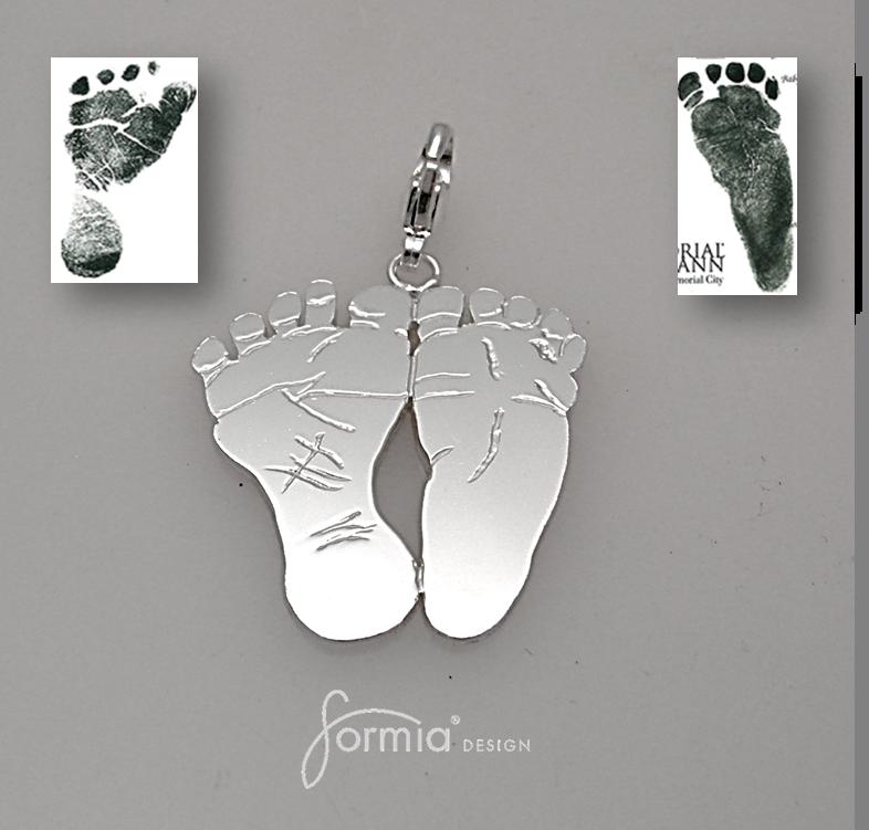 Bracelet charm 159 Baby footprints Footprints and Babies
