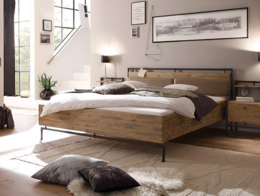 Doppelbett TERRY 180x200 cm Akazie gebürstet Schlafzimmer Pinterest