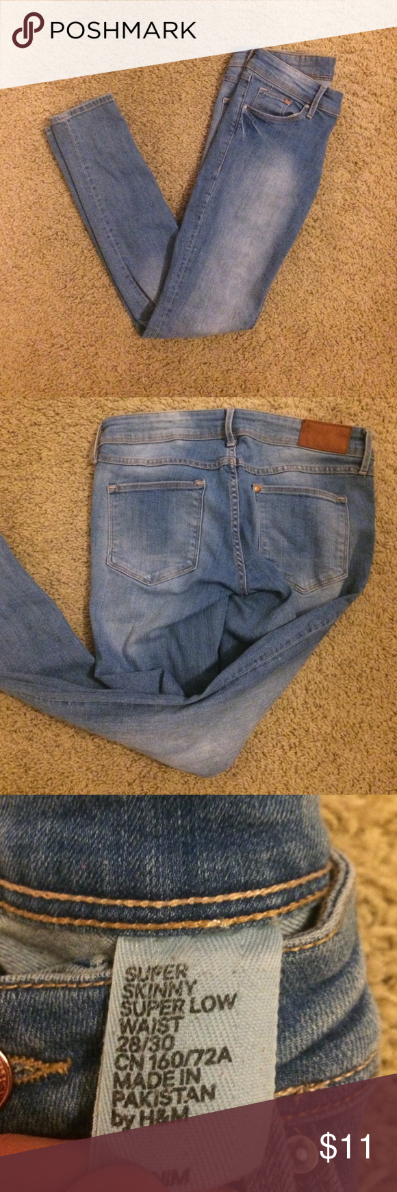 H&M Skinny Light Colored Jeans Size 28/30 Distressed color, worn some but nice condition. Skinny fit. Jeans