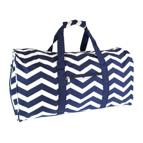 283d3392a47e Navy Blue and White Chevron Duffle, Cheer, Sports, Overnight Bag ...