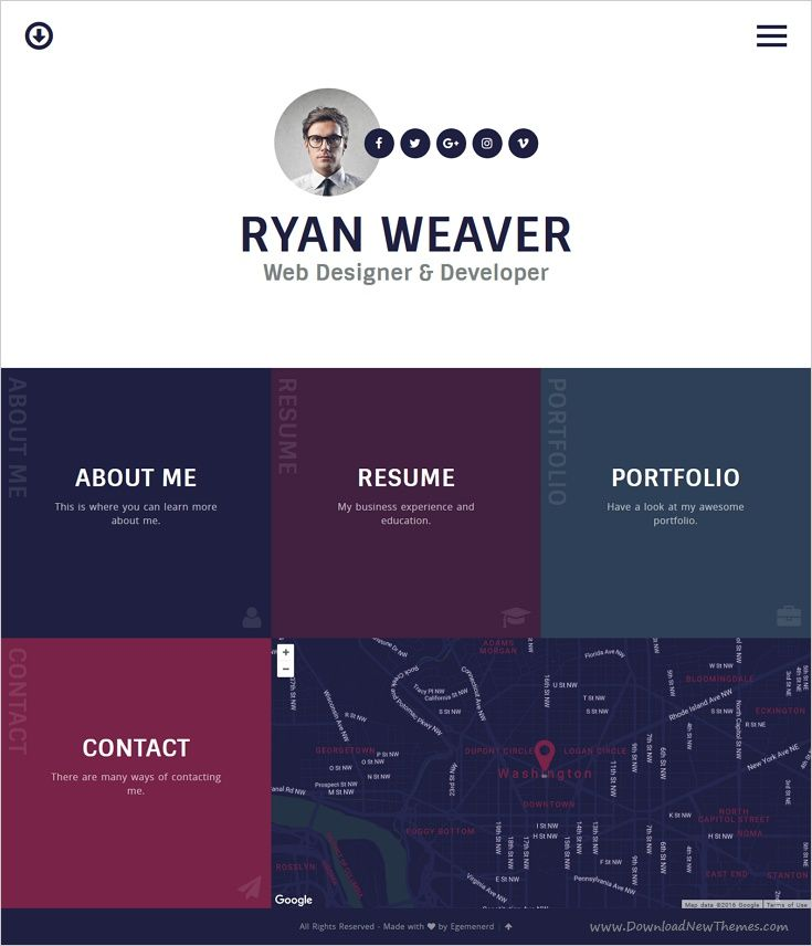 Resume Html Template Insurgent  Personal Vcard Resume Html Template  First Page