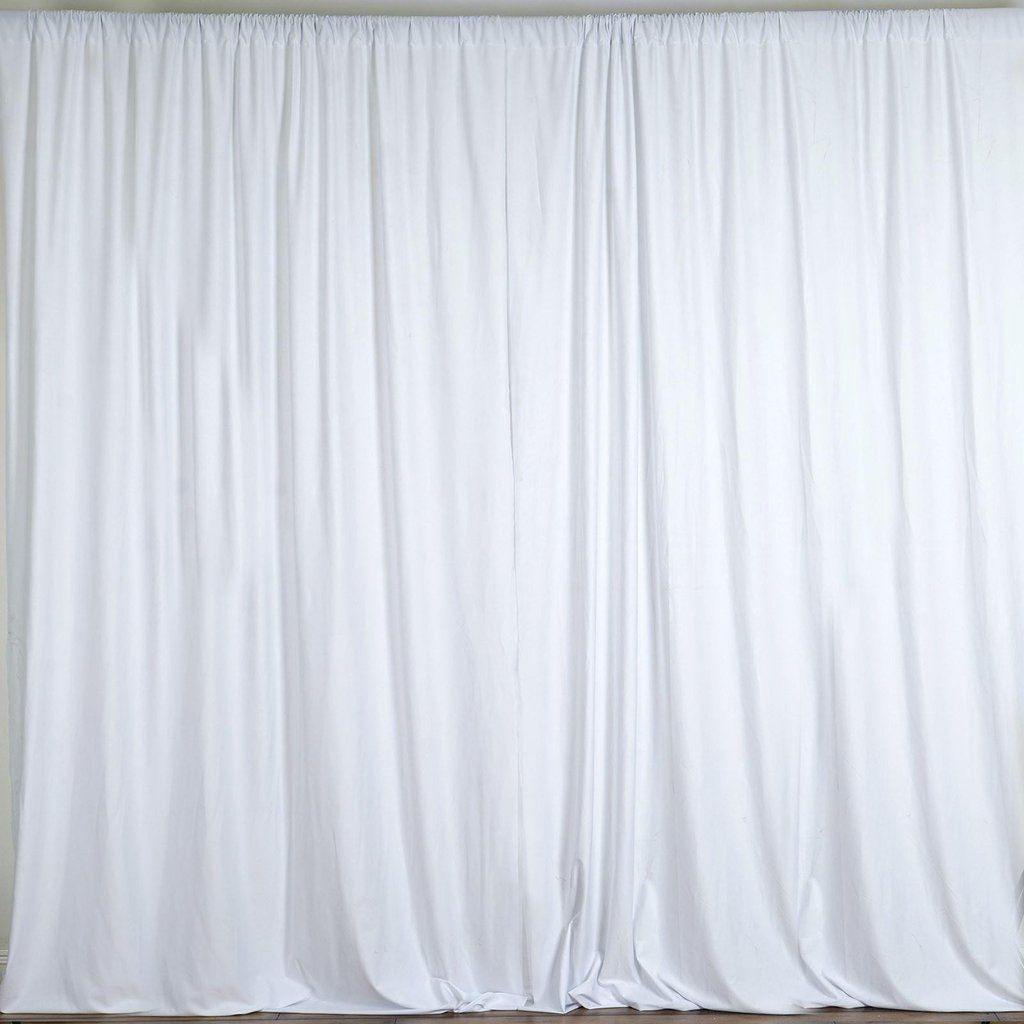 Pack Of 2 5ftx10ft White Fire Retardant Polyester Curtain Panel