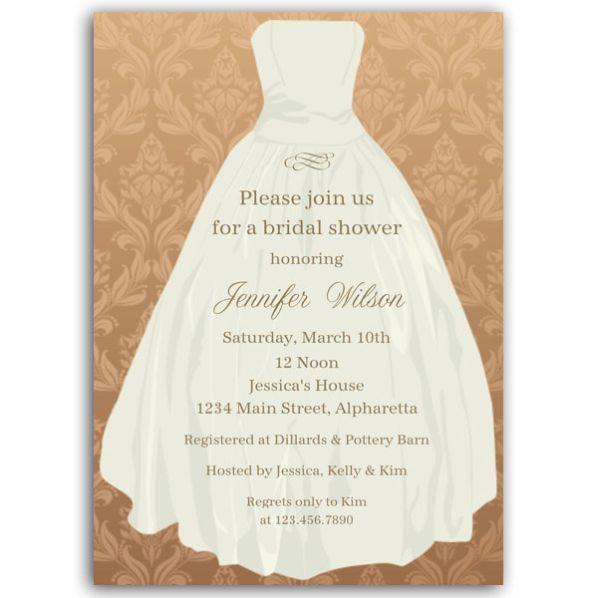 Bridal Taffeta Gown Brown Bridal Shower Invitations