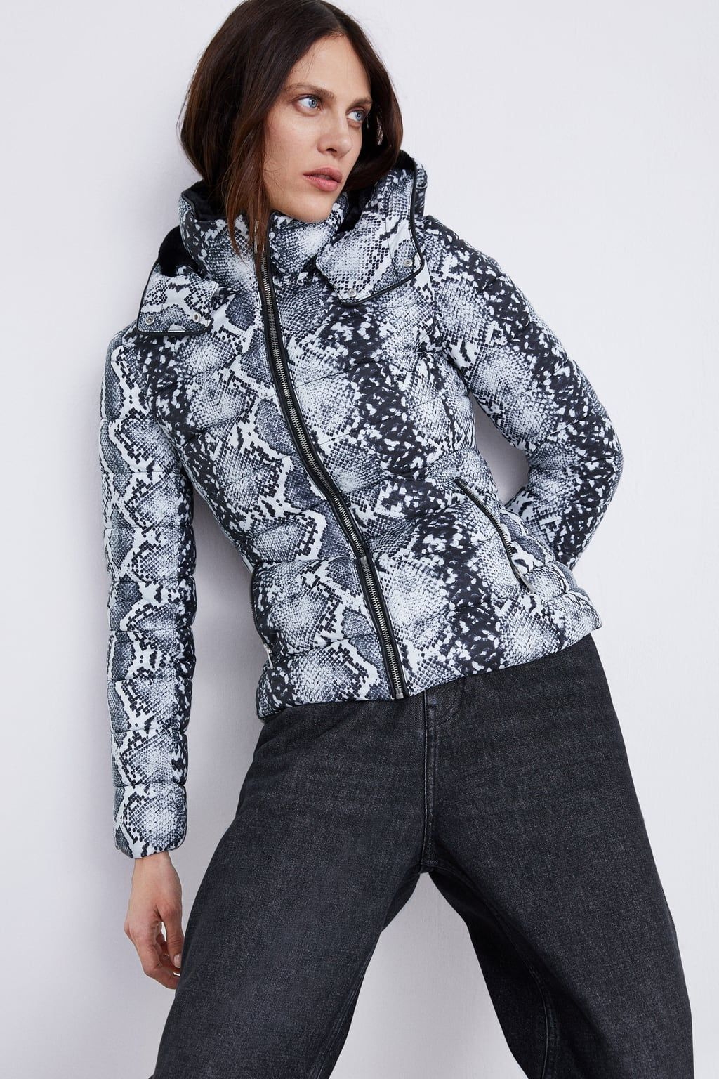 ccc977a0 Snakeskin print puffer jacket in 2019 | My Wishlist | Puffer jackets ...