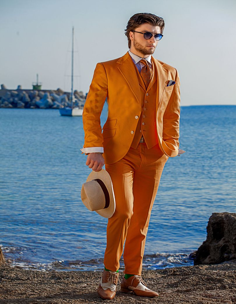 Latest Coat Pant Designs Italian Orange Men Suit Slim Fit 3 Piece ...