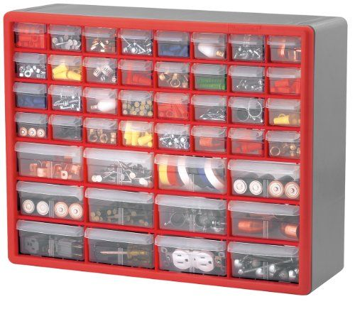 Akro Mils 10744 44-Drawer Hardware and Craft Cabinet Red and Gray Akro-Mils //.amazon .com/dp/B00019JP8S/refu003dcm_sw_r_pi_dp_9Apqwb0M91J2E  sc 1 st  Pinterest & Akro Mils 10744 44-Drawer Hardware and Craft Cabinet Red and Gray ...