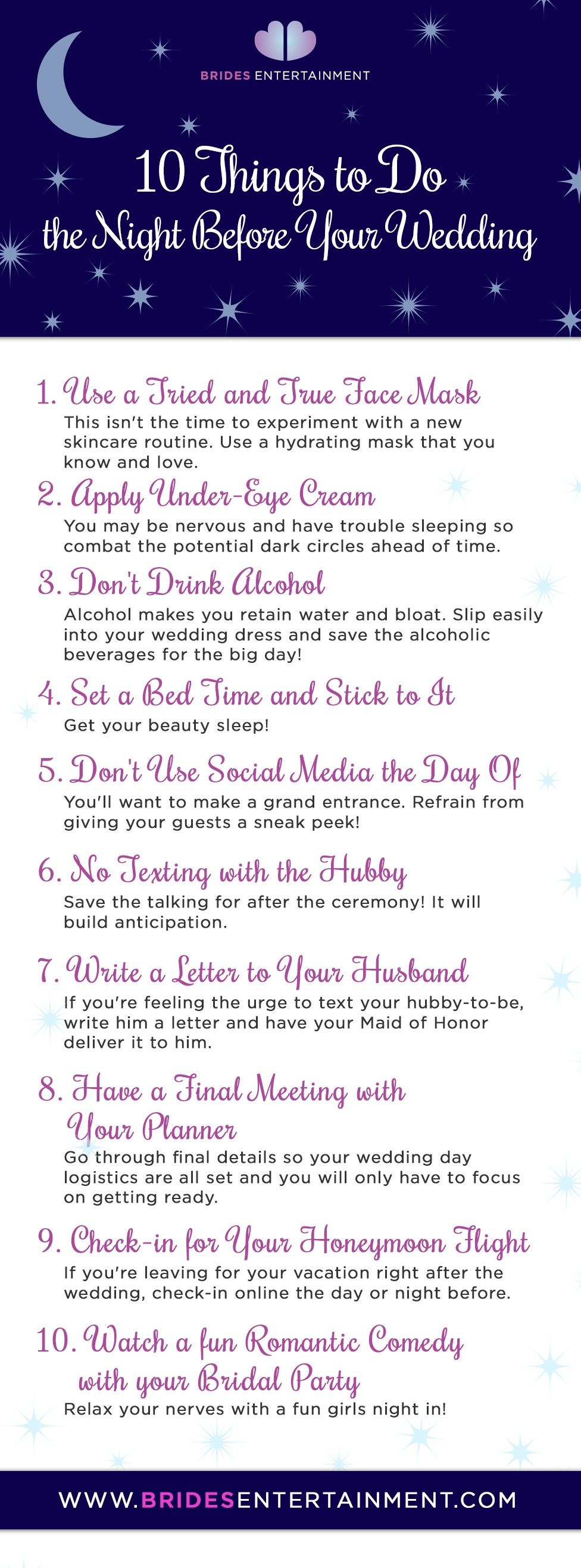 Brides Entertainment - 10 Things to Do the Night Before Your ...